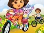 dora si diego in curse cu bicicleta