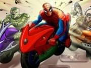 spiderman cu motociclete de curse
