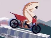 yeti pe motocicleta pe tepi